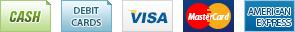 Nous acceptons Comptant, Débit, Visa, MasterCard et American Express.